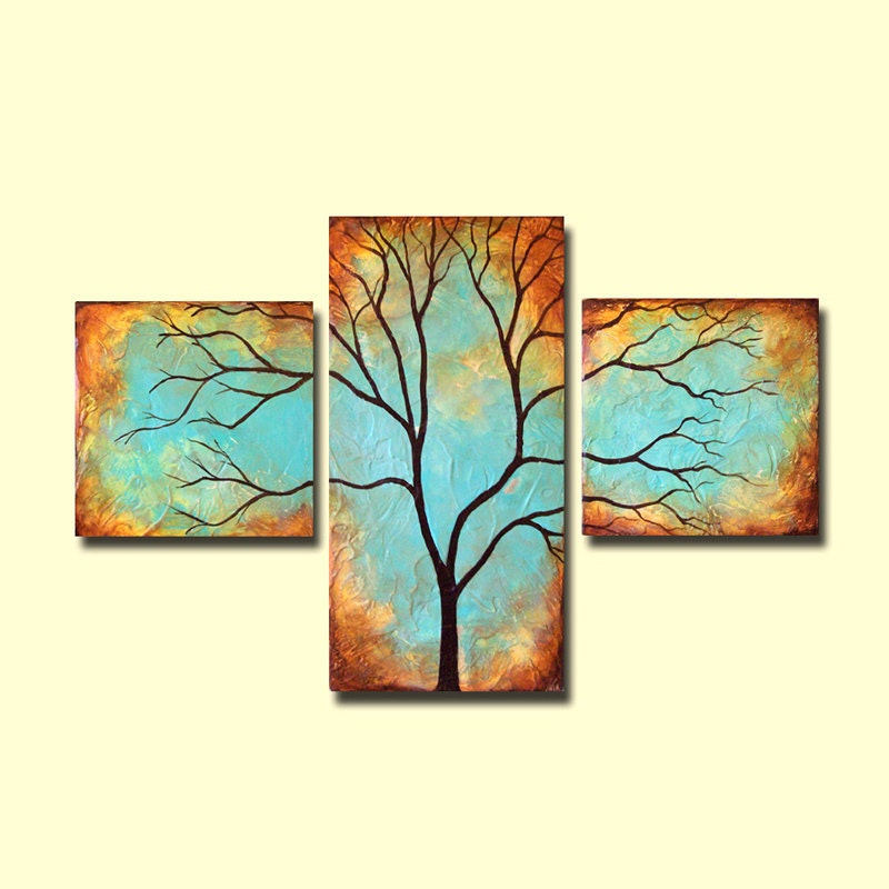 Etsy Personalized Wall Decor : Items similar to tree wall art patina triptych