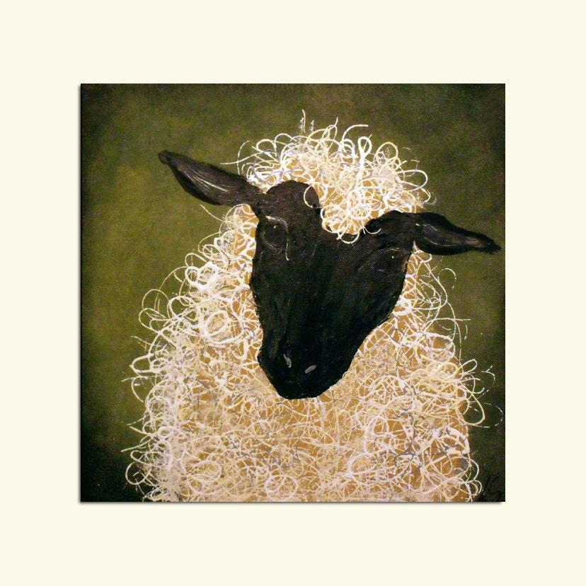 Abstract Sheep Painting Original Art