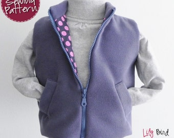 Simple Vest for Boys and Girls - 12 months to 8 years - PDF Pattern and Instructions - easy sew, fully lined, zipper, welt pockets