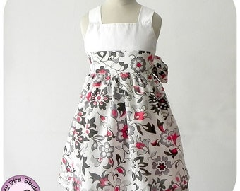 Spring dress - 1 to 10 years - shirred back, waist ties, cross back, flower girl dress  - PDF Pattern and Instructions