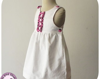 Tianna Dress, back to School dress, 2 to 8 yrs, PDF Pattern and Instructions, lined bodice, buttons on straps and sides, all seasons