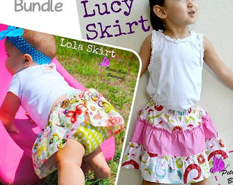 Bundle Pack - Lola Skirt & Lucy Skirt PDF Pattern and Instruction by Petite Kids - Newborn-10Y - Easy sew - Diaper cover and Shorts Attached