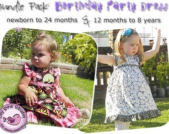 Bundle Pack: Birthday Party Dress - newborn to 8 yrs - Lily Bird Studio PDF Sewing Pattern - girl, baby, easy sew