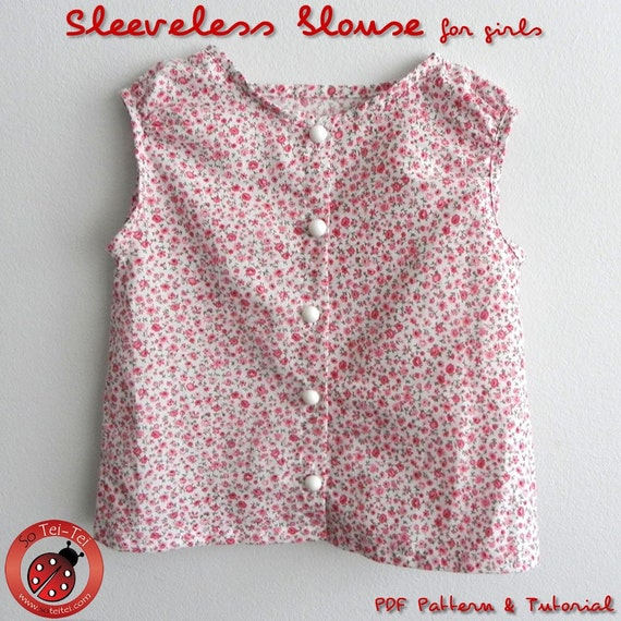Sleeveless blouse for Girls and Fabric Flower - 12M to 8Y - PDF Pattern and Instructions