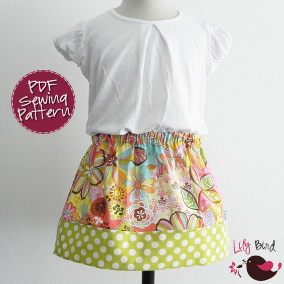 Cute and Simple back to School skirt - 9M to 6T - PDF ebook with Instructions - easy sew - beginner project - wide hem