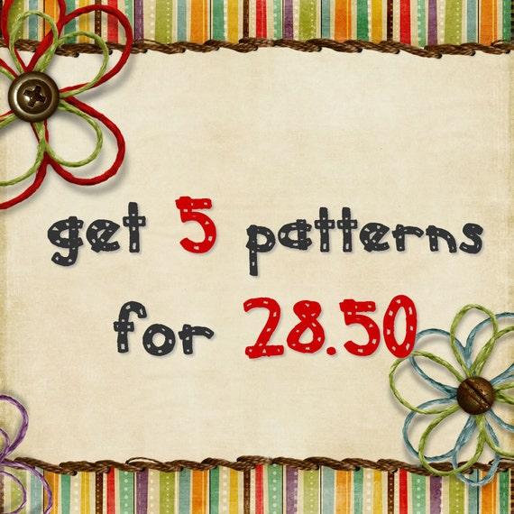 Bundle Pack - Get 5 sewing patterns for 28.50 USD - PDF patterns promo - pants, shorts FREE Shipping