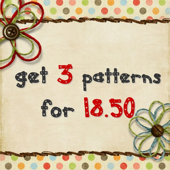 Bundle Pack - Get 3 sewing patterns for 18.50 USD - Boy/Girl patterns  - 3 patterns bundle