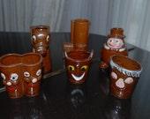 Vintage Pottery SHOT GLASS SET - Long Shot, Shot to Hell, Gun Shot, Big Shot, Poor Shot, Double Shot,
