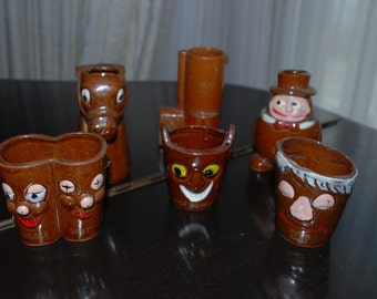 Vintage Pottery SHOT GLASS SET - Long Shot, Shot to Hell, Gun Shot, Big Shot, Poor Shot, Double Shot,