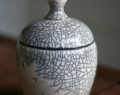 White Raku Crackle Lidded Jar - DISCOUNTED