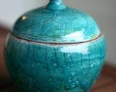 Turquoise Blue Raku Crackle Lidded Jar