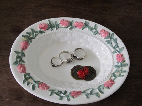 Soap or Trinket Dish With Rose Boader
