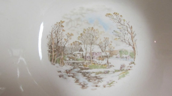 Vintage China Bowl - Winter Scene  -  Serving Bowl - Kitchen - Collectible Knowles,