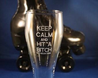 "Custom Engraved: EXPLICIT ""Keep Calm"" Custom Engraved Roller Derby Glass"