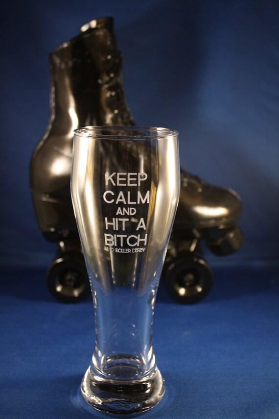 "EXPLICIT ""Keep Calm"" Custom Engraved Roller Derby Glass Pilsner - Finished Product"