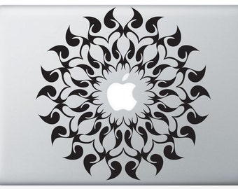 Radial Flame laptop DECAL- macbook PC computer- geometric symmetrical circle - vinyl circle