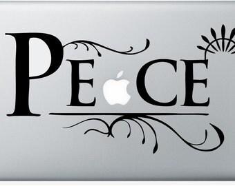 Peace laptop DECAL- macbook PC computer- sixties hippie groovy - vinyl sticker