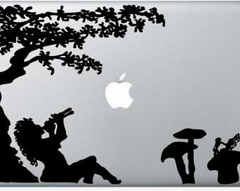 Fairy Mushroom Meadow laptop DECAL- macbook PC computer - faerie pagan vinyl sticker