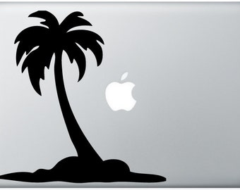 Palm Tree with apple moon laptop DECAL- macbook iPad computer- island vinyl sticker