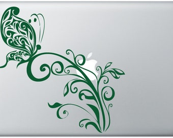 Butterfly on tendrils DECAL- macbook iPad computer- vinyl sticker