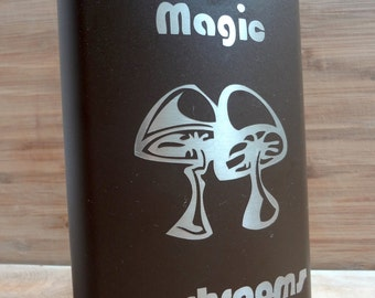 Magic Mushrooms FLASK- alcohol, liquor, booze, wedding, bridal party, hip pocket- Personalized Custom - YOU pick COLOR