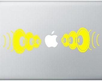 bass boom DJ Speakers music DECAL- macbook PC computer- vinyl sticker