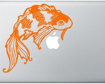 lucky Koi laptop DECAL- macbook PC computer- ocean goldfish animal - vinyl sticker