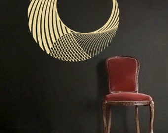 Circular Wave vinyl Wall DECAL- interior design, sticker art, room, home and business decor