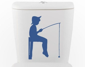 Boy Gone Fishing | Vinyl Wall Decal | Toilet, Bathroom, Interior Design