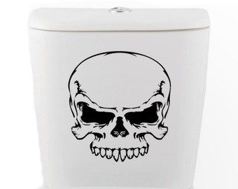 Skull toilet DECAL- Home Decor, Vinyl Wall Art, Shower, Bathroom, Interior Design