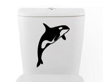 KILLER WHALE DECAL- orca size good for toilet Home Decor, Vinyl Wall Art, Shower, Bathroom, Interior Design