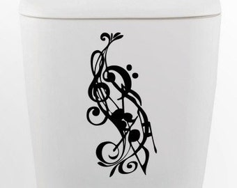 Musical Notes toilet DECAL- Home Decor, Vinyl Wall Art, Shower, Bathroom, Interior Design