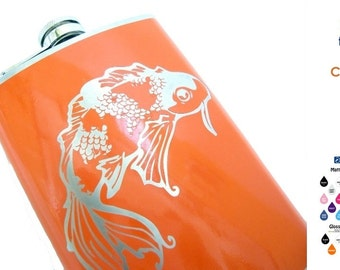 Lucky KOI fish FLASK- alcohol, liquor, booze, wedding party, bridal party, festival, concert, hip pocket - Personalized- You pick Color