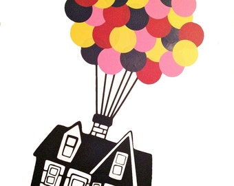 Floating House with 32 hot air Balloons vinyl Wall DECAL- UP, interior design, sticker art, room, home and nursery children decor