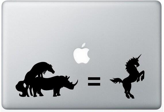 Unicorn Rhino DECAL- - macbook laptop computer- Gadget Art / Accessory - vinyl sticker