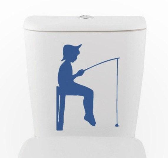 Boy Gone Fishing | Vinyl Wall Decal | Toilet, Bathroom, Interior Design
