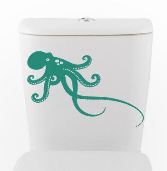 OCTOPUS DECAL- size good for toilet, car auto Home Decor, Vinyl Wall Art, Shower, Bathroom, Interior Design