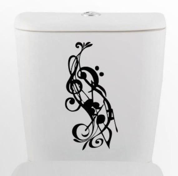 Musical Notes toilet DECAL- Home Decor, Vinyl Wall Art, Shower, Bathroom, Interior Design