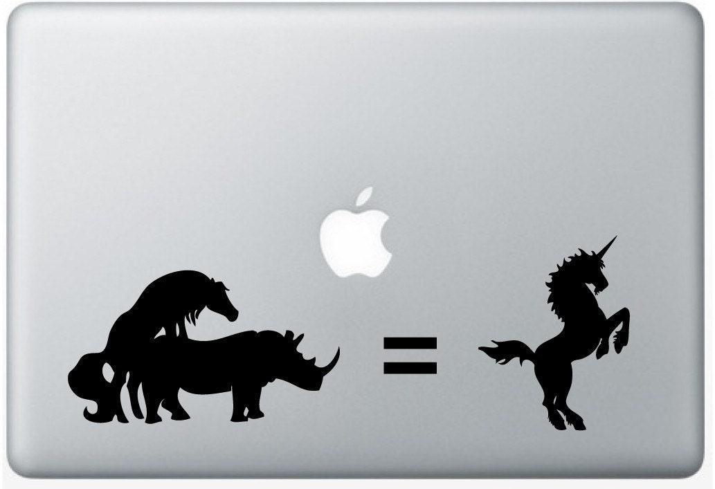 unicorn rhino decal macbook laptop computer gadget art. Black Bedroom Furniture Sets. Home Design Ideas