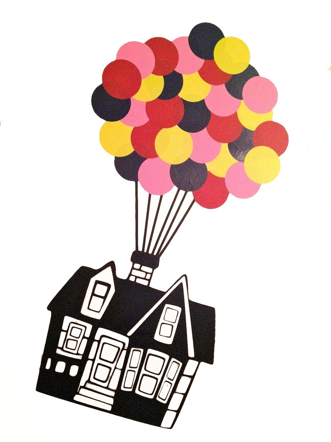 Floating House with 32 hot air Balloons vinyl Wall DECAL- UP, interior ...