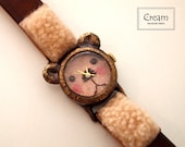 Handmade Vintage Wrist Watch with Leather Band /// A cute little bear GomGom - Perfect Gift for Birthday, Anniversary, Christmas