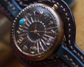 Handcraft Wrist Watch. Handstitch Leather Band with Birthstone /// Cabochon - Perfect Gift for Birthday and Anniversary