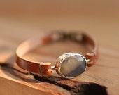 Sapphire Natural Gemstone Bracelet /// Genuine Leather Band /// Handmade Accessory