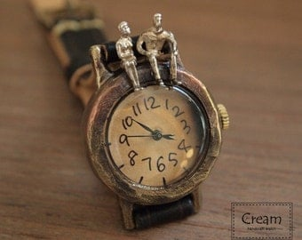 Vintage Handmade Wrist Watch with Leather Band /// Talk Talk with you - Perfect Gift for Birthday, Anniversary, Christmas
