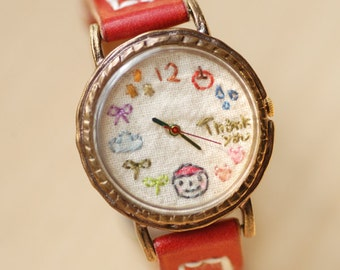 Vintage Handcraft Cute lovely Wrist Watch with Handstitch Leather Band /// Thank you-yumyum - Perfect Gift for Birthday, Anniversary