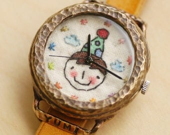 Cute Handcraft Wrist Watch with Leather Band /// Partie - Perfect Gift for Birthday and Anniversary