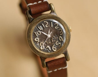 Vintage Handcraft Wrist Watch with Leather Band /// Browny mini - Perfect Gift for Birthday and Anniversary