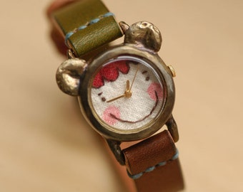 Vintage Retro Steampunk Handcraft Watch with Handstitch Leather Band /// A Cute Pipi - Perfect Gift for Birthday, Anniversary