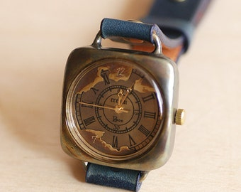 Vintage Handmade Wrist Watch. Handstitch Leather Band /// Continent M - Perfect Gift for Birthday, Anniversary, Christmas