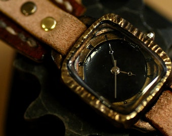 Vintage Watch. Retro Steampunk Handcraft Watch with handstitch Leather Band /// Craft box - Perfect Gift for Birthday and Anniversary